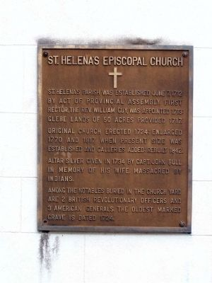 St. Helena's Episcopal Church Marker image. Click for full size.