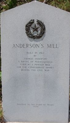 Anderson's Mill Marker image. Click for full size.