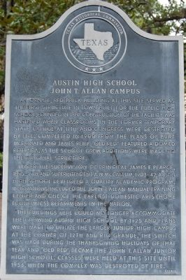 Austin High School - John T. Allan Campus Marker image. Click for full size.