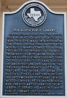 1933 Austin Public Library Marker image. Click for full size.