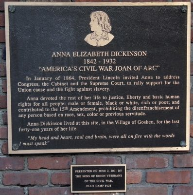Anna Elizabeth Dickinson Plaque image. Click for full size.