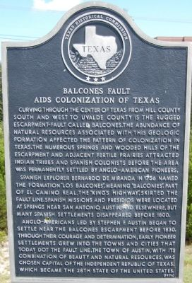 Balcones Fault Aids Colonization of Texas Marker image. Click for full size.