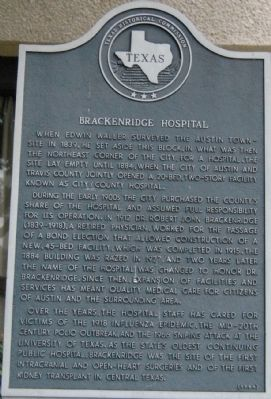 Brackenridge Hospital Marker image. Click for full size.