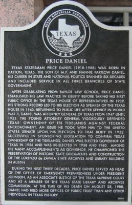 Price Daniel Marker image. Click for full size.