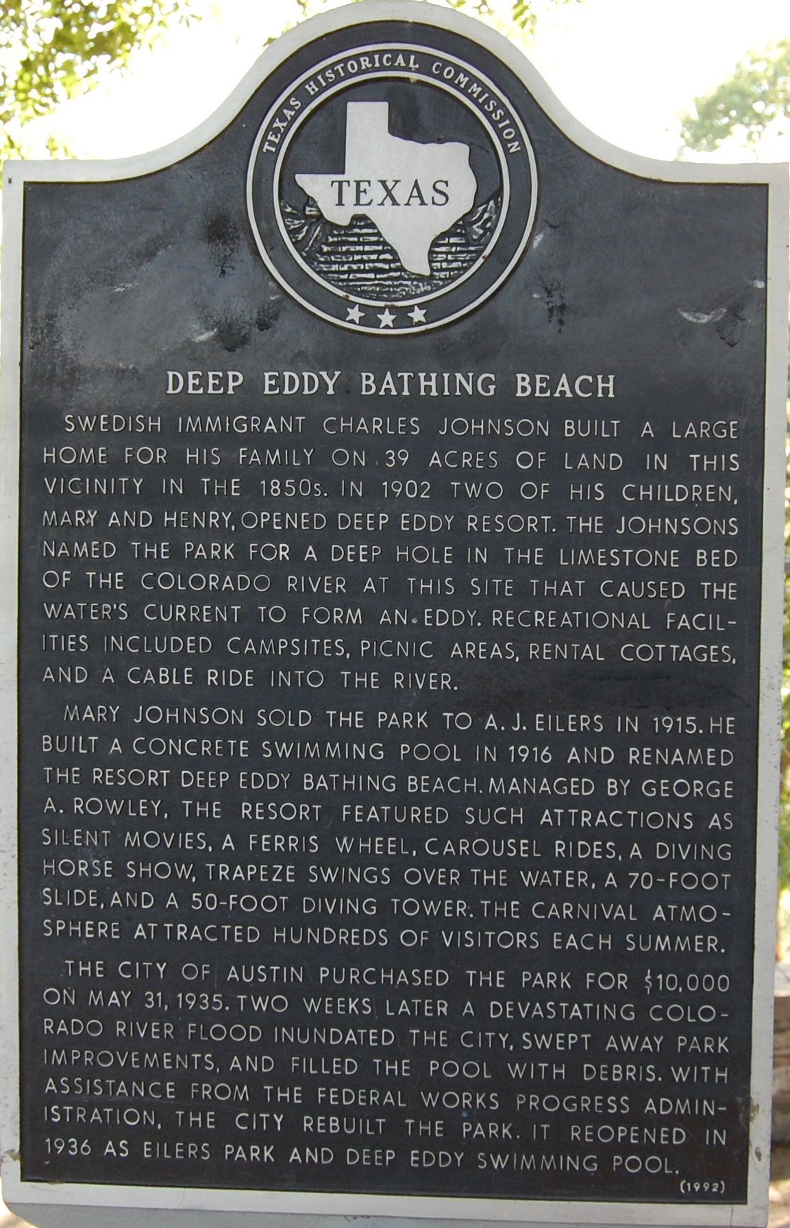 Deep Eddy Bathing Beach Marker