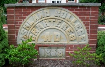 Original Founders Hall Keystone and Cornerstone on Jones Memorial Terrace image. Click for full size.
