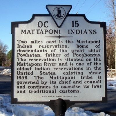 Mattaponi Indians Marker image. Click for full size.