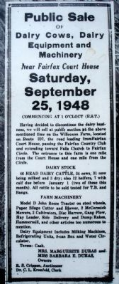 Close-up of Public Sale notice on marker image. Click for full size.