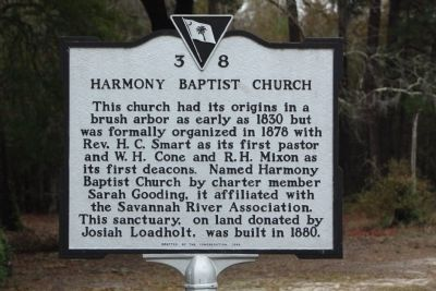 Harmony Baptist Church Marker image. Click for full size.