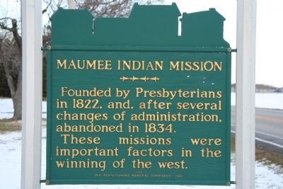 Maumee Indian Mission Marker image. Click for full size.