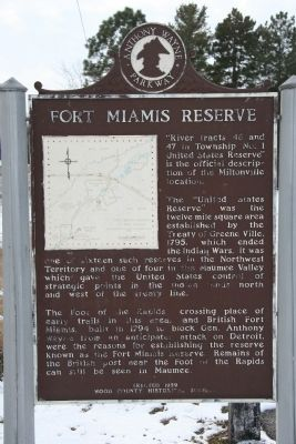 Fort Miamis Reserve Marker image. Click for full size.