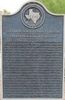 Governor James Edward Ferguson Marker image. Click for full size.