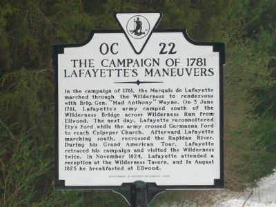 The Campaign of 1781 Lafayette's Maneuvers Marker image. Click for full size.