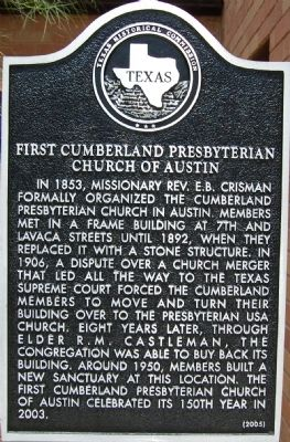 First Cumberland Presbyterian Church of Austin Marker image. Click for full size.