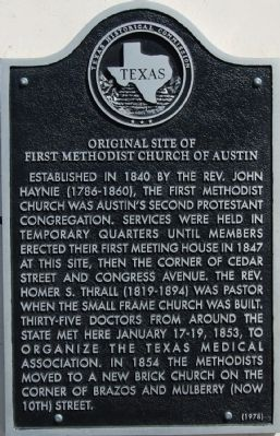 Original Site of First Methodist Church of Austin Marker image. Click for full size.