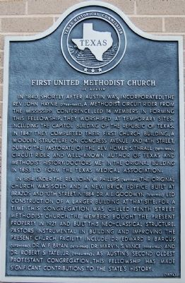 First United Methodist Church of Austin Marker image. Click for full size.