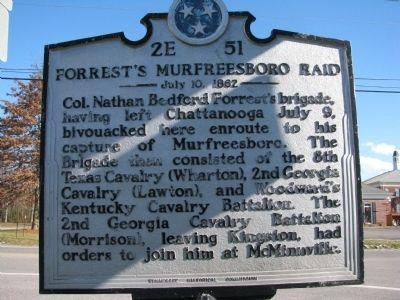 Forrest's Murfreesboro Raid Marker image. Click for full size.