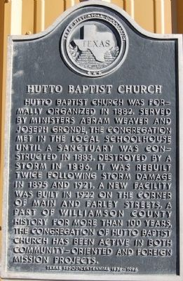 Hutto Baptist Church Marker image. Click for full size.