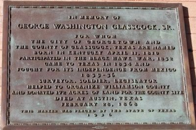 In Memory of George Washington Glasscock, Sr. Marker image. Click for full size.