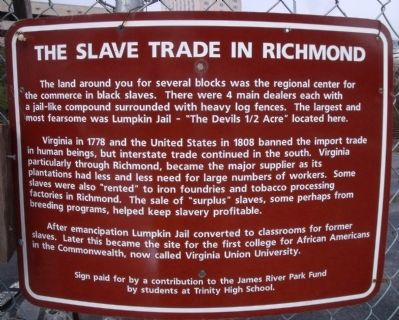 The Slave Trade In Richmond Marker image. Click for full size.