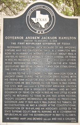 Governor Andrew Jackson Hamilton Marker image. Click for full size.