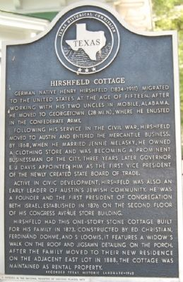 Hirshfeld Cottage Marker image. Click for full size.