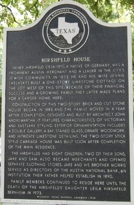 Hirshfeld House Marker image. Click for full size.