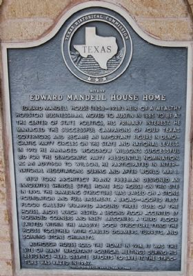 Site of Edward Mandell House Home Marker image. Click for full size.