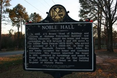 Noble Hall Marker Reverse image. Click for full size.