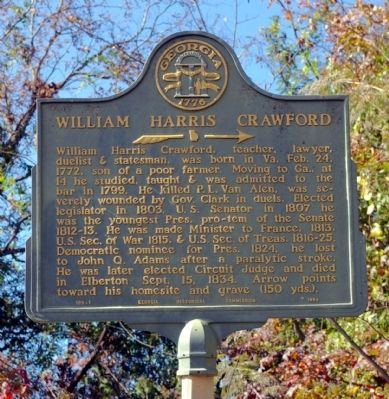 William Harris Crawford Marker image. Click for full size.