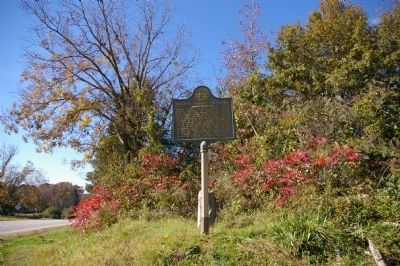 William Harris Crawford Marker, pointing toward the Crawford Cemetery image. Click for full size.
