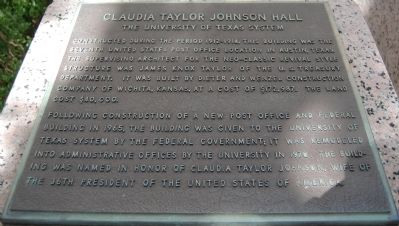Claudia Taylor Johnson Hall Marker image. Click for full size.