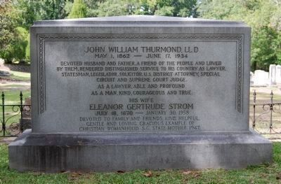 John William and Eleanor Strom<br>Thurmond Tombstone image. Click for full size.