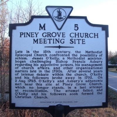 Piney Grove Church Meeting Site Marker image. Click for full size.