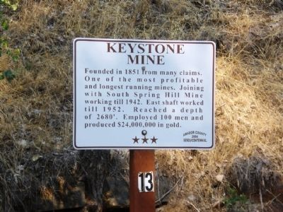 Keystone Mine Marker image. Click for full size.