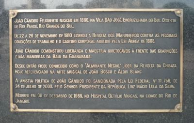 João Cândido Felisberto Memorial - Marker Panel 1 image. Click for full size.