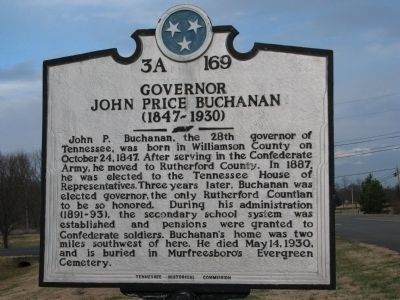 Governor John Prince Buchanan Marker image. Click for full size.