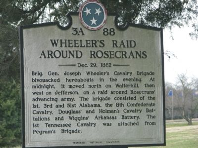 Wheeler's Raid around Rosecrans Marker image. Click for full size.