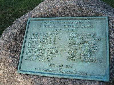 Trumbull World War I Memorial Marker image. Click for full size.