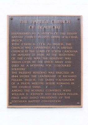 The Baptist Church of Beaufort Marker image. Click for full size.