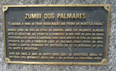 Zumbi Dos Palmares Monument Marker - Panel 1 image. Click for full size.