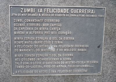 Zumbi Dos Palmares Monument Marker - Panel 2 image. Click for full size.