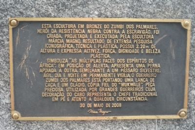Zumbi Dos Palmares Monument Marker - Panel 3 image. Click for full size.