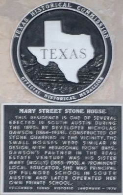 Mary Street Stone House Marker image. Click for full size.
