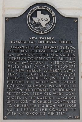 New Sweden Evangelical Lutheran Church Marker image. Click for full size.