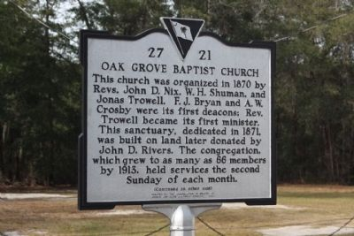 Oak Grove Baptist Church Marker image. Click for full size.