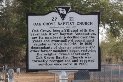 Oak Grove Baptist Church Marker, reverse side image. Click for full size.