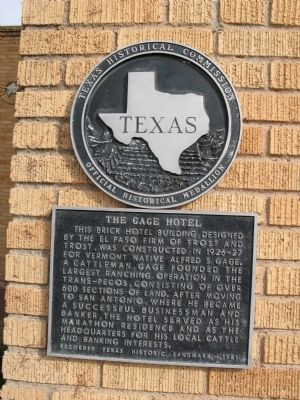 The Gage Hotel Marker image. Click for full size.