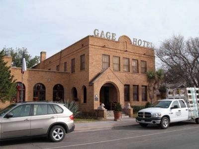 The Gage Hotel and Marker image. Click for full size.