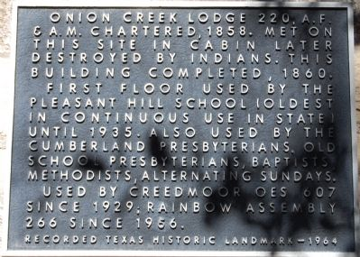 Onion Creek Lodge 220, A.F. & A.M. Marker image. Click for full size.